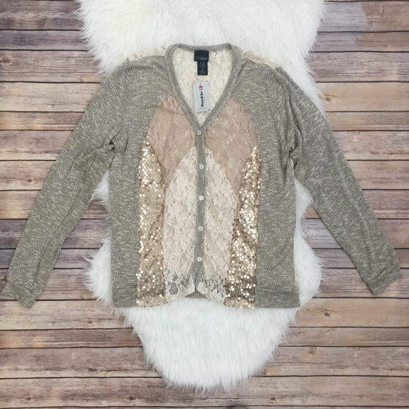 Daytrip Buckle Gold Sequin Lace Cardigan Sweater 0622fcd4e